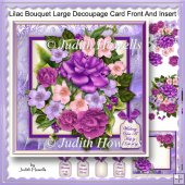 Lilac Bouquet Large Decoupage Card Front And Insert