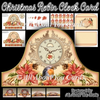 Christmas Robin Clock Card & Envelope