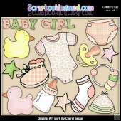 Baby Girl ClipArt Graphic Collection