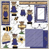 Purple Daisy Bear ClipArt Graphic Collection
