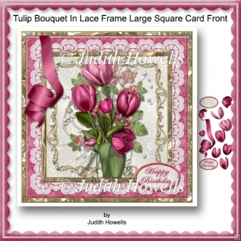 Tulip Bouquet In Lace Frame Large Square Card Front