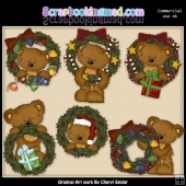 Tibbles Christmas Wreaths ClipArt Collection
