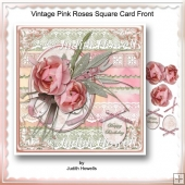 Vintage Pink Roses Square Card Front