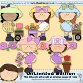 Flower Pickin 1 ClipArt Graphic Collection
