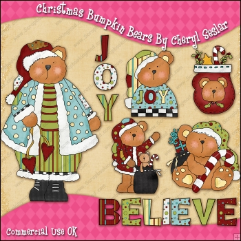 Christmas Bumpkin Bears ClipArt Graphic Collection