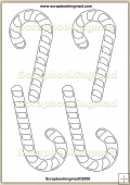 Template Overlay Candy Canes PDF Sheet