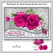 Red Roses On Silver Waved Border Card Front