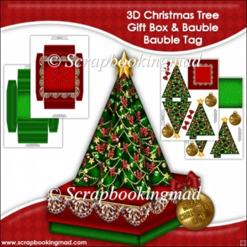 3D Christmas Tree Gift Box and Bauble Tag