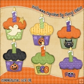 Halloween Cupcakes ClipArt Graphic Collection