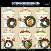 Little Snowman Christmas Wreaths ClipArt Collection