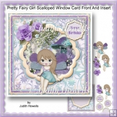 Pretty Fairy Girl Scalloped Window Card Front And Insert