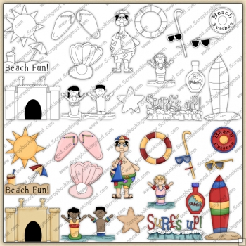 Day At The Beach ClipArt Graphic Collection 2