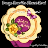 Orange Camellia Flower Shaped Card