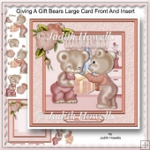 Giving A Gift Bears Large Card Front And Insert