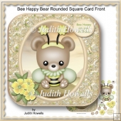 Bee Happy Bear Rounded Square Card Front