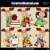 Little Moose Goes To School ClipArt Collection