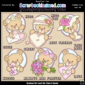 RESALE ART WORK Oval Bears Valentines ClipArt Collection