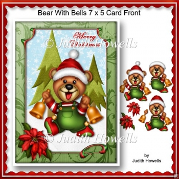 Bear With Bells 7 x 5 Card Front