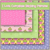 5 I Love Cupcakes Backing Papers Download
