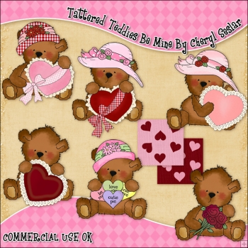 Tattered Teddies Be Mine ClipArt Graphic Collection