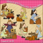 Patchwork Girls Pumpkin Patch ClipArt Graphic Collection