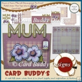 Mum & Mom Floral Decoupage Portrait Fold Over The Top Word Card