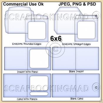 6x6 Envelope Card & Insert Templates Commercial Use