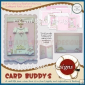 Girl Christening/Baptism/Naming Scalloped Fold Card Kit