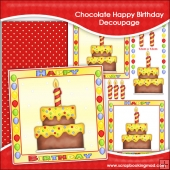 Chocolate Happy Birthday Cake Decoupage Download