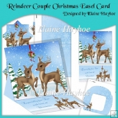 Reindeer Couple Christmas Easel Card