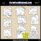 Peek A Boo Bears Wedding Colour Your Own ClipArt RESALE SET
