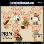 Little Bunnies Prim Wishes ClipArt Collection