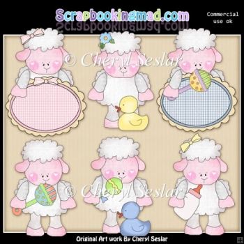 Marys Little Baby Lamb ClipArt Collection
