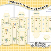 3 Yellow Daisy Chain Hexagonal Boxes