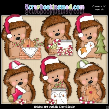 Pepper The Hedgehog Christmas Time ClipArt Collection