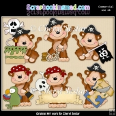 Mikey The Monkey Little Pirates ClipArt Collection