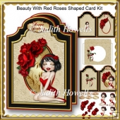 Beauty With Red Roses Shaped Card Kit