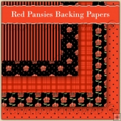 5 Red Pansie Backing Papers Download (C112)