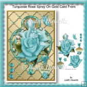 Turquoise Rose Spray On Gold Card Front
