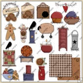 Prim Country 1 ClipArt Graphic Collection