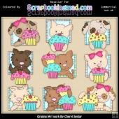 RESALE ART WORK Doggy Squares Cupcakes ClipArt Collection