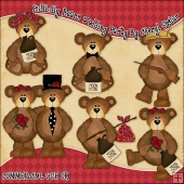 Hillbilly Bears Wedding Party ClipArt Graphic Collection