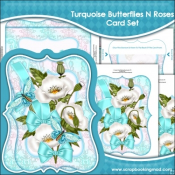Turquoise Butterflies N Roses Bracket Card Set