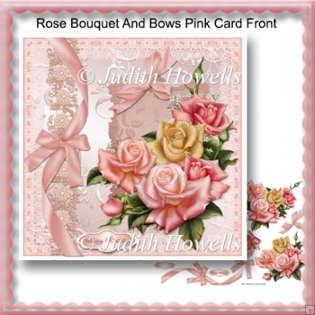 Rose Bouquet And Bows Pink Card Front