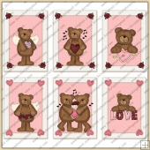 6 Valentine Bear Quick Cards PDF Download