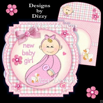 New Baby Girl Shaped Card