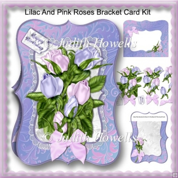 Lilac And Pink Roses Bracket Card Kit