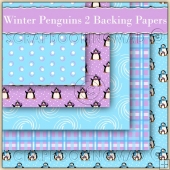 5 Winter Penguins 2 Backing Papers Download (C207)