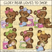 Cloey Bear Loves To Shop ClipArt Graphic Collection