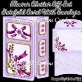 Flower Cluster Off Set Gatefold Card With Envelope